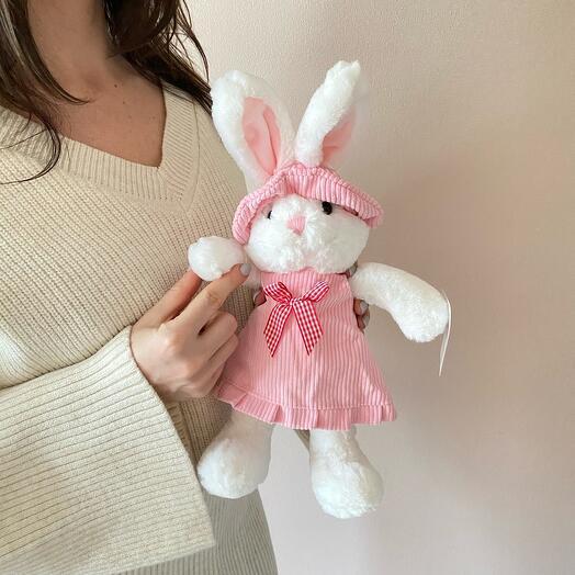 Белый кролик в платье 26 см