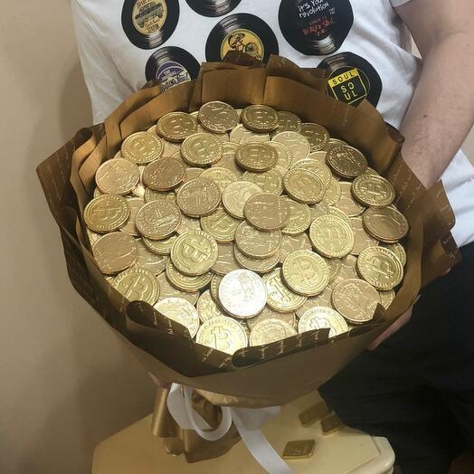 Букет из шоколадных монет. Сладкий букет