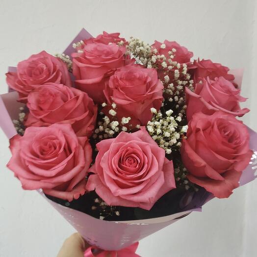 11 роз в нежной дымке
