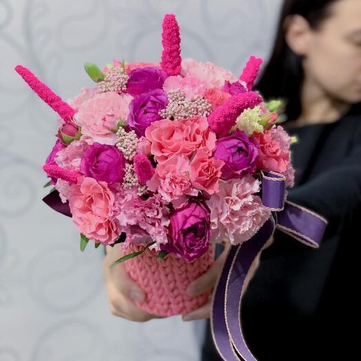 NEW 💕 букет фламинго  в уникальном вязаном кашпо ручной работы