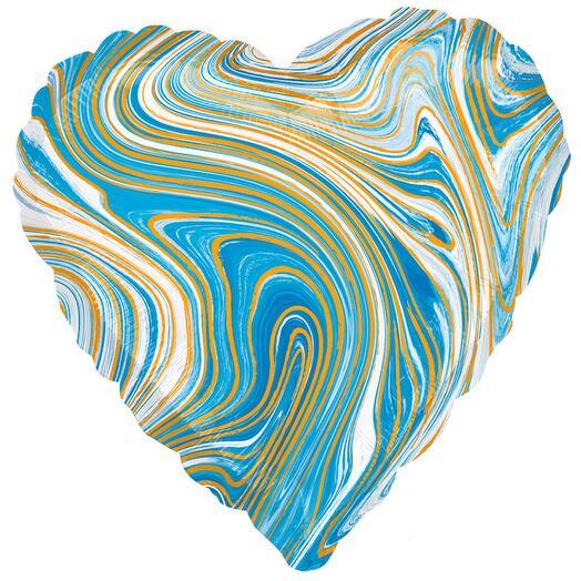 Шар фольга сердце голубой