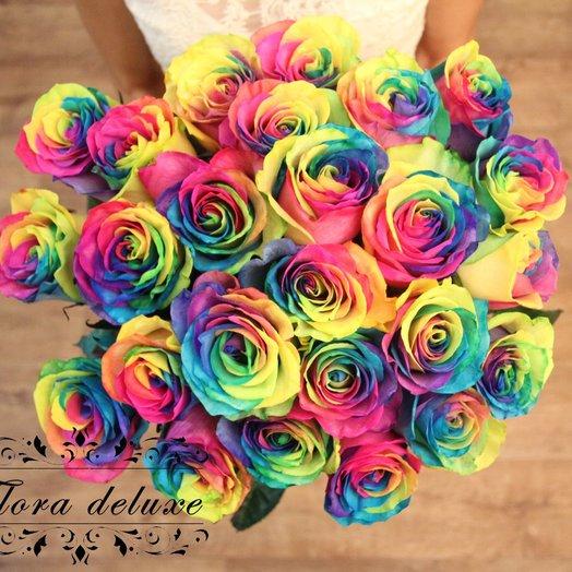 Монобукет 25 радужных роз