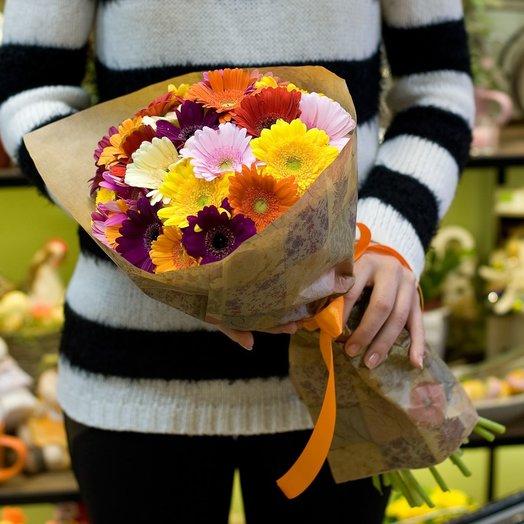 Букет из минигербер Разноцветные солнышки