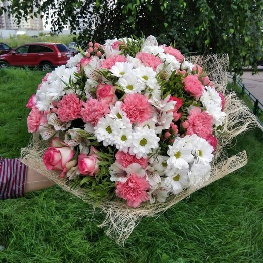 Розовая роза с ромашками и гвоздиками