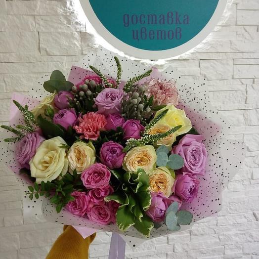 """Дизайнерский букет из микса роз """"Аглая"""": букеты цветов на заказ Flowwow"""
