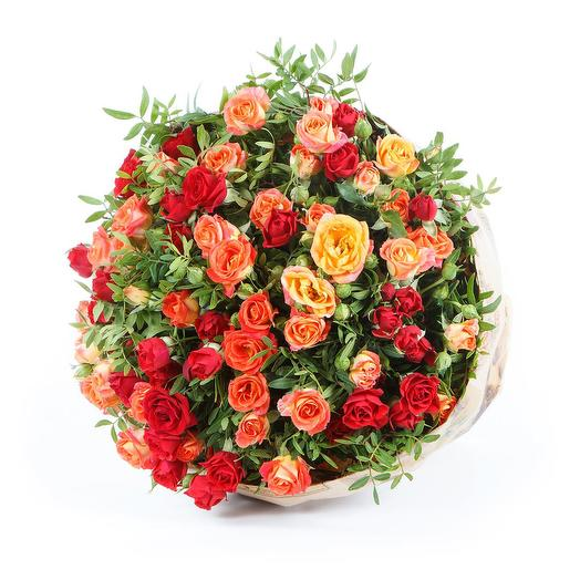 Яркие кустовые розы и писташ: букеты цветов на заказ Flowwow
