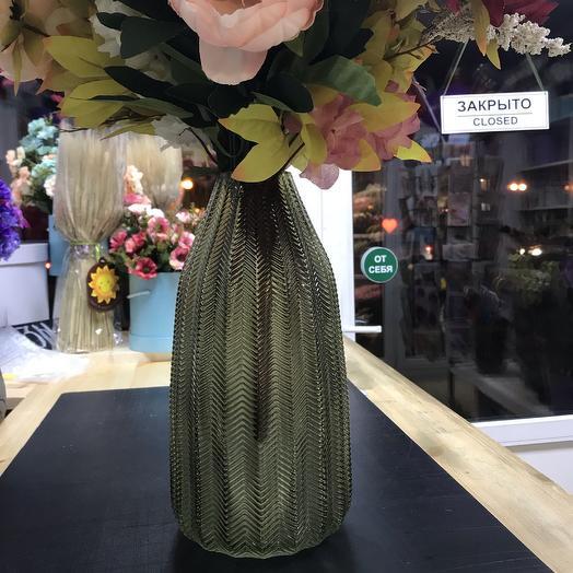 Ваза стеклянная рифленая: букеты цветов на заказ Flowwow