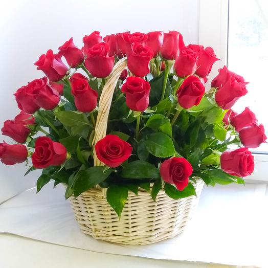 51 Red roses in a basket