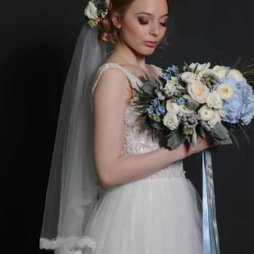 Эксклюзивный свадебный букет голубых оттенков