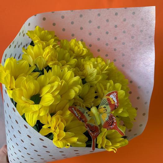 Ромашки с бабочкой: букеты цветов на заказ Flowwow