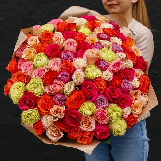 Розы Эквадорские микс 101 шт: букеты цветов на заказ Flowwow