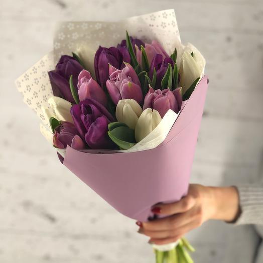 Сиреневый микс (15 тюльпанов)