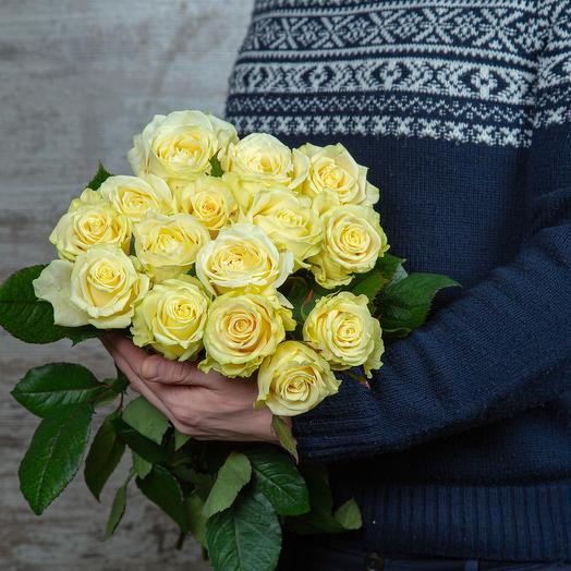 Букет из 15 белых роз, длина: букеты цветов на заказ Flowwow