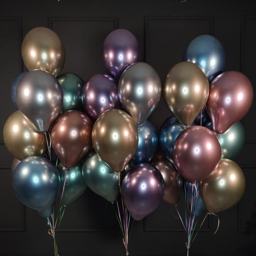 Разноцветные хромированные шары 30 шт