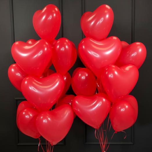 Красные латексные сердца 20 шт
