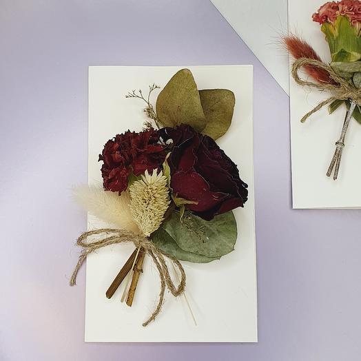 """Открытка ручной работы с сухоцветами """"Red"""""""