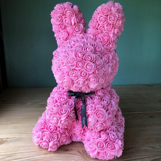 Flowers Lovers - зайка из розах фомиарана розовый с бантиком