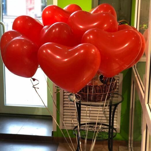 11 гелиевых шаров Сердце
