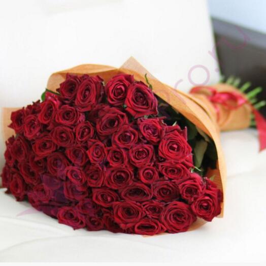 51 голландская роза в упаковке 60 см