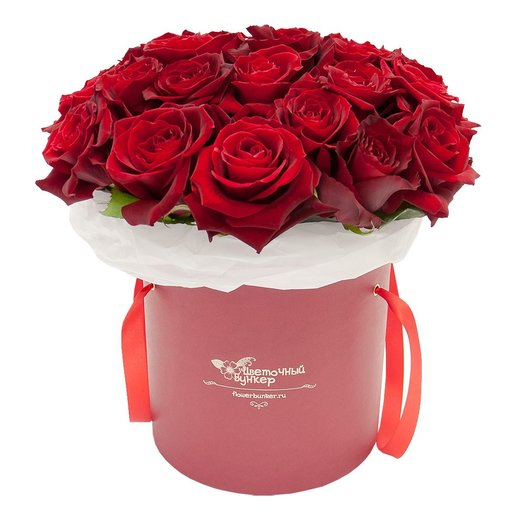 51 Роз в шляпной коробке Бархатный рай: букеты цветов на заказ Flowwow