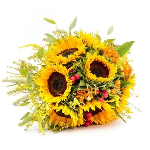 Sunflowers and red berries: flowers to order Flowwow