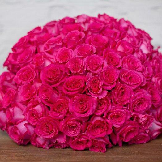 101 розовая роза Pink Floyd: букеты цветов на заказ Flowwow