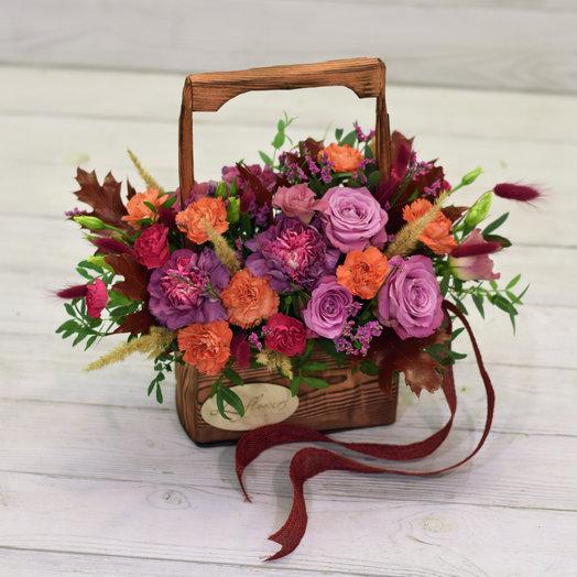 Деревянный ящик Перемена: букеты цветов на заказ Flowwow
