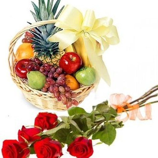 "Set of ""5 red roses and basket of fruit"". Code 180116"