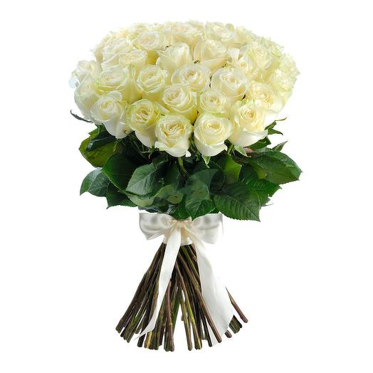 Роза белая МОНДИАЛЬ: 70 - 90 см: букеты цветов на заказ Flowwow