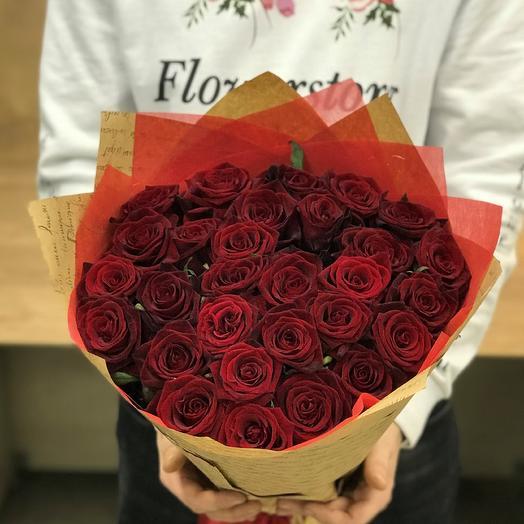 Розы. Букет из 29 красных роз (50 см). N376: букеты цветов на заказ Flowwow