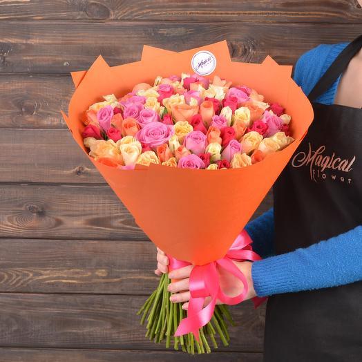 Яркий Микс из 101 розы: букеты цветов на заказ Flowwow