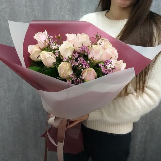 Стильный букет из жемчужных роз: букеты цветов на заказ Flowwow