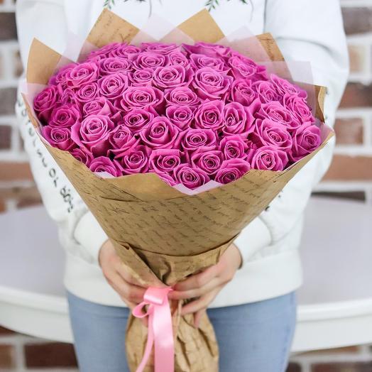 Розы. Букет из 51 розовых роз. N16