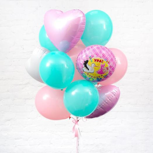 Связка воздушных шаров на выписку для девочки