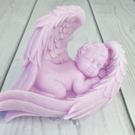 Мыло ручной работы - Малыш в крыльях большой (фиолетовый)