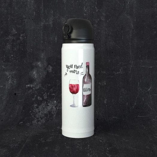 Термос с откидной крышкой One Love, Вино: you need more
