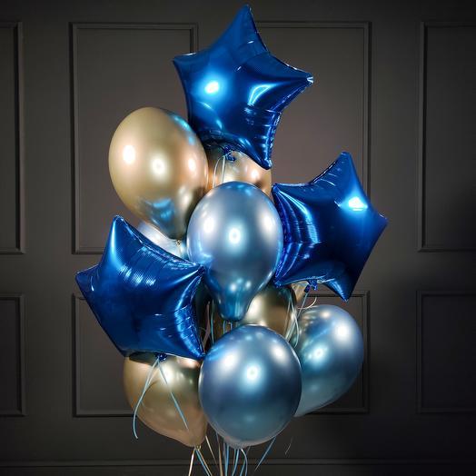 Композиция из хромированных шаров с синими звездами