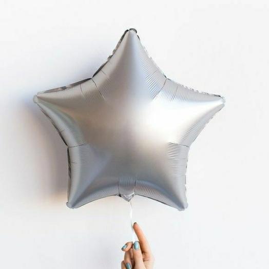 """Фольгированный шар звезда""""Серебро"""""""