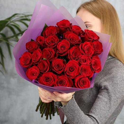 25 красных роз Эквадор 50 см