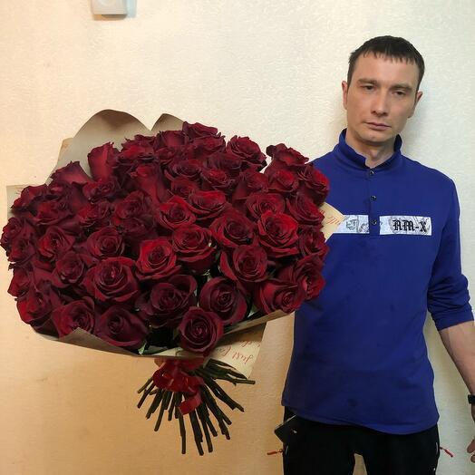 Розы 51 штука Красные