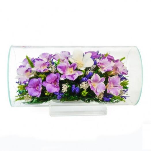 """Цветы в стекле в вакууме """"Симона двуцветная"""", орхидеи"""