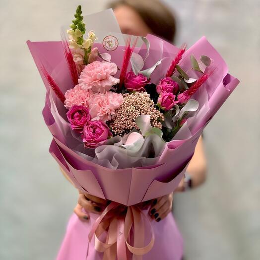 ✅Букет с розами и гвоздиками «Малиновый Раф»