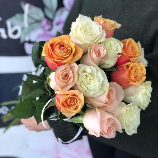 Букет из 15 разноцветных роз 70 см: букеты цветов на заказ Flowwow