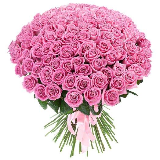 Букет из 101 розовой розы: букеты цветов на заказ Flowwow