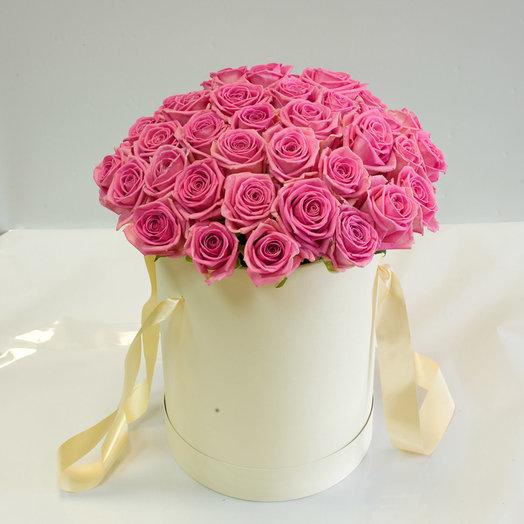 Розы Аква в шляпной коробке: букеты цветов на заказ Flowwow