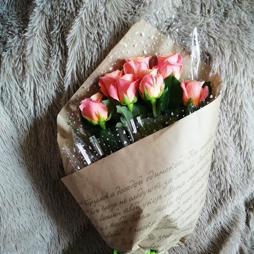 7 роз Мисс Пигги: букеты цветов на заказ Flowwow