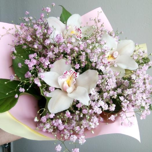 Bouquet on September 1 of orchids and baby's breath: flowers to order Flowwow
