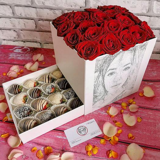 Шкатулка с портретом M: букеты цветов на заказ Flowwow