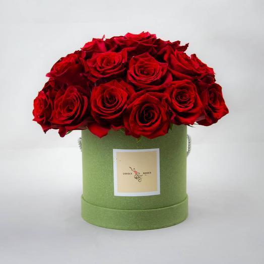 Red roses in green box 25 pcs