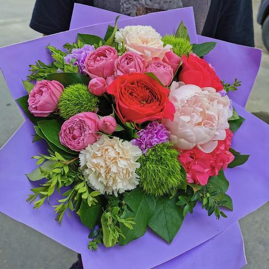 Пион и гортензия: букеты цветов на заказ Flowwow